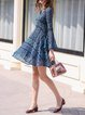 Blue Long Sleeve Guipure Lace Pierced V Neck A-line Mini Dress
