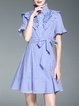 Girly Stripes Ruffled Frill Sleeve A-line Mini Dress with Belt