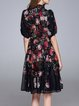 Floral Balloon Sleeve Printed Casual Midi Dress