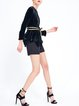 Black Silk Asymmetrical Casual Long Sleeved Top with Belt