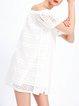 H-line Cold Shoulder Cotton Short Sleeve Casual Mini Dress