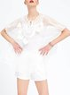 White Two Piece Batwing Solid Silk Tunic