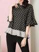 Black Casual Flounce Short Sleeved Top