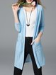 Solid 3/4 Sleeve  Casual Knitted Cardigan