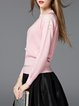 Pink Solid Casual Knitted Sweater