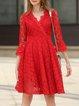 Red Elegant Lace Floral Midi Dress