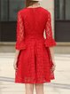 Red Elegant Lace Floral Midi Dress