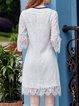 Keyhole Frill Sleeve Elegant Midi Dress