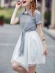 Short Sleeve Casual Printed Shirt Collar Two Piece Midi Dress