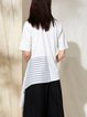 Crew Neck Casual Asymmetric Stripes Shorts Sleeve Tops