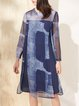 Navy Blue Printed Slit Ombre/Tie-Dye Casual Midi Dress
