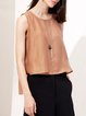 Camel High Low Sleeveless Paneled Solid Tanks And Cami