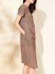 Camel Stripes H-line Printed Simple Midi Dress