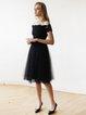 Black Lace Short Sleeve Off Shoulder Tulle Party Dress