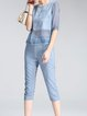 Two Piece See-through Look Casual Crew Neck 3/4 Sleeve Jumpsuit