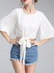 White Crew Neck Half Sleeve H-line Bow Cropped Top