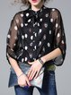 Black Bow Graphic Print Silk-blend H-line 3/4 Sleeve Blouse With Camis