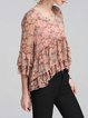 Pink Floral-print Floral Frill Sleeve Blouse