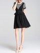 Black Two Piece Striped Shorts Sleeve Printed Spaghetti Mini Dress
