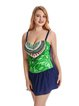 Green Straped Wireless Printed One-Pieces