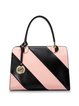 Pink-black Zipper Split Leather Shoulder Bag