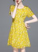 Short Sleeve Floral-print Casual Chiffon Crew Neck Mini Dress