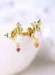 Golden Crown Pearl Earrings