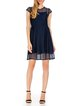 Navy Blue Solid Crew Neck Short Sleeve Viscose Midi Dress