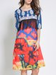 Multicolor Half Sleeve Fringed Crew Neck Midi Dress