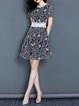 Dark Blue A-line Crew Neck Short Sleeve Crocheted Lace Paneled Midi Dress