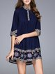 Navy Blue Cotton-blend Boho Mini Dress