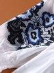 Balloon Sleeve Vintage Embroidered A-line Midi Dress