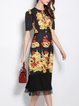Black Short Sleeve Crew Neck Floral Printed Midi Dress