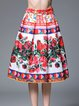 Red A-line Silk-blend Casual Floral Midi Skirt