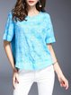 Blue Embossed Cotton Short Sleeve Top