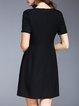 Crew Neck Beaded A-line Elegant Shorts Sleeve Midi Dress