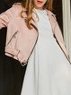 Pink Solid Lapel Zipper Casual Cropped Jacket