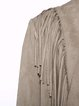 Plus Size Long Sleeve Solid Fringed Casual Coat