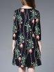 Multicolor Casual H-line Floral Surplice Neck Midi Dress