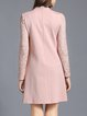 Long Sleeve Solid H-line Casual Guipure Lace Midi Dress