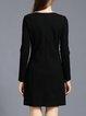Long Sleeve A-line Elegant Beaded Solid Midi Dress
