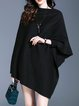 Black Slash Neck Solid Ribbed Cape Sleeve Poncho And Cape