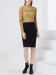 Solid Sheath Casual Knitted Midi Skirt