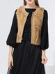 Beaded Sleeveless Casual Crew Neck Vests And Gilet