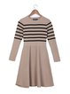 A-line Long Sleeve Casual Stripes Knitted Sweater Dress