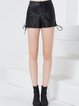 Black Solid Lace Up Casual Cotton Shorts