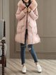 Solid Casual Pockets Long Sleeve Hoodie Artificial Leather And Shearling Coat