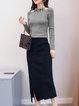 Slit Halter Casual Long Sleeve Sheath Top With Skirt