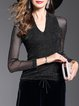 Black Solid V Neck See-through Look Blouse