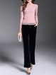 Pink See-through Look Solid Cowl Neck Casual Blouse